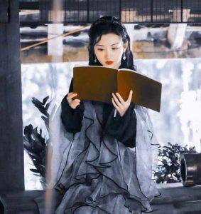 black cheongsam dress